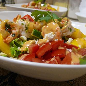 Mango Nectarine Summer Salad with Garlic, Lime Marinated Shrimp