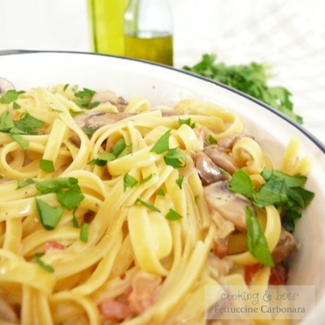 With snow in the forecast: Fettuccine Carbonara!