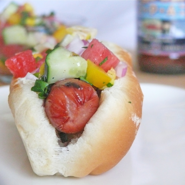 Chicken Dogs with Watermelon Salsa