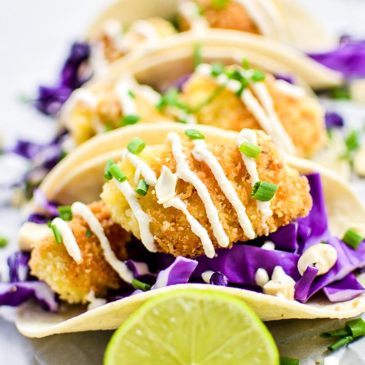 Crispy Cauliflower Tacos with Cashew Cream