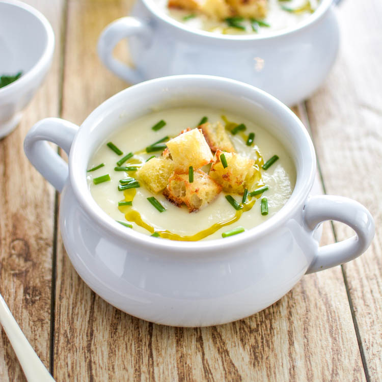 Cauliflower and Celery Root Soup with Roasted Garlic