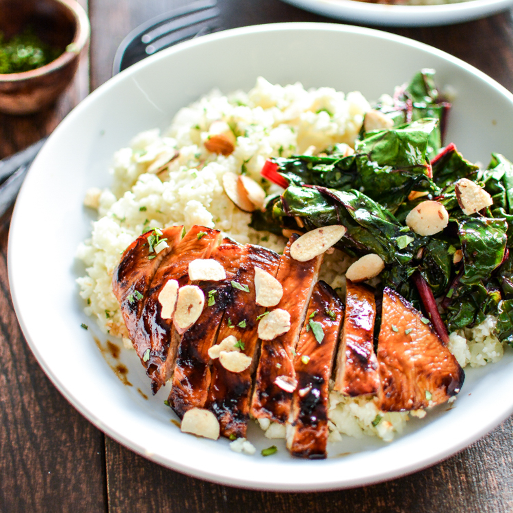 Barbecue Chicken and Cauliflower Couscous Bowls