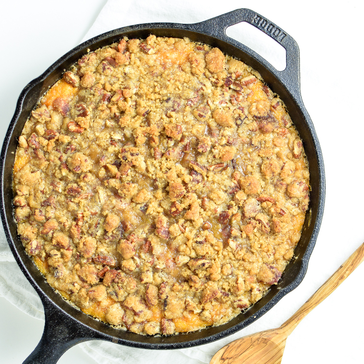 Skillet Sweet Potato Casserole with Bacon, Brown Sugar Crumble