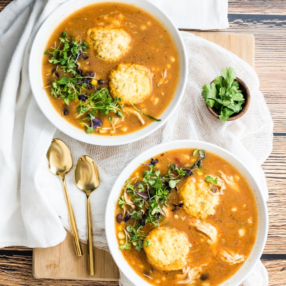 Southwestern Chicken Soup with Cornmeal Dumplings