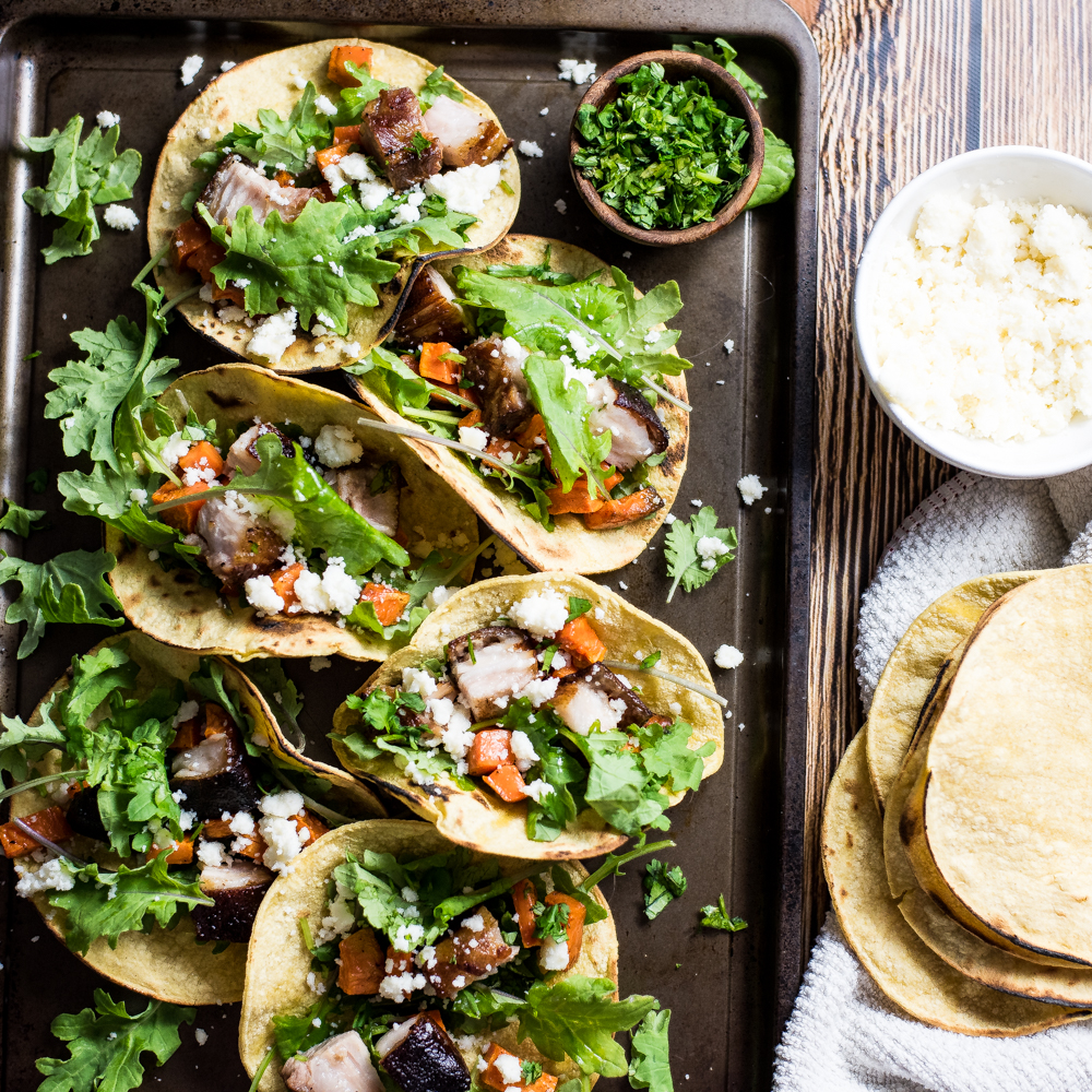 Braised Pork Belly and Sweet Potato Tacos
