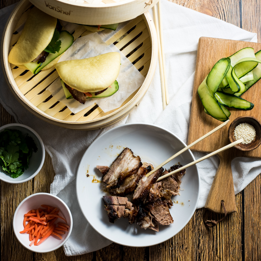 Braised BBQ Pork Belly Steamed Buns (Gua bao)