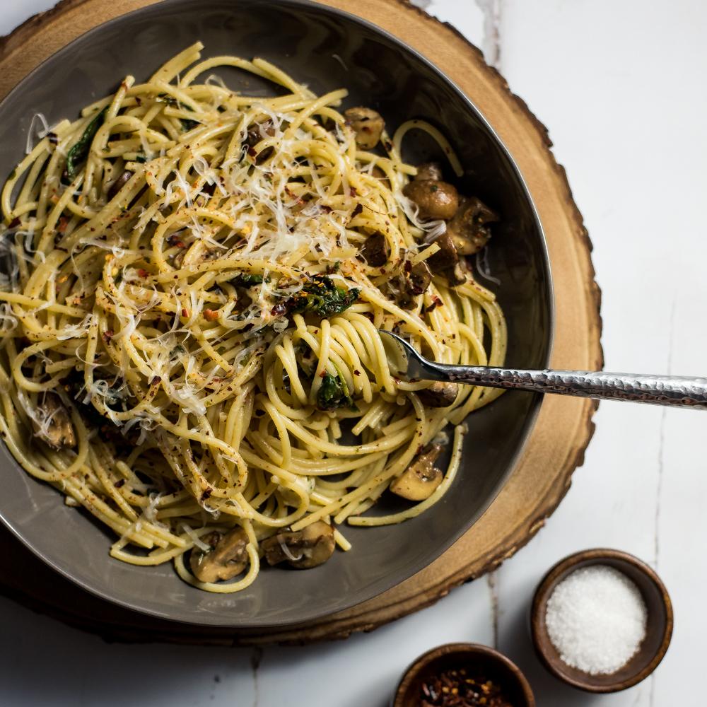 Spaghetti Aglio e Olio with Wilted Spinach and Mushrooms