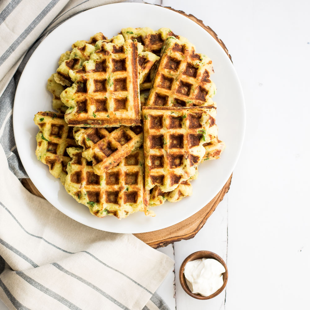 Goat Cheese and Spinach Mashed Potato Waffles