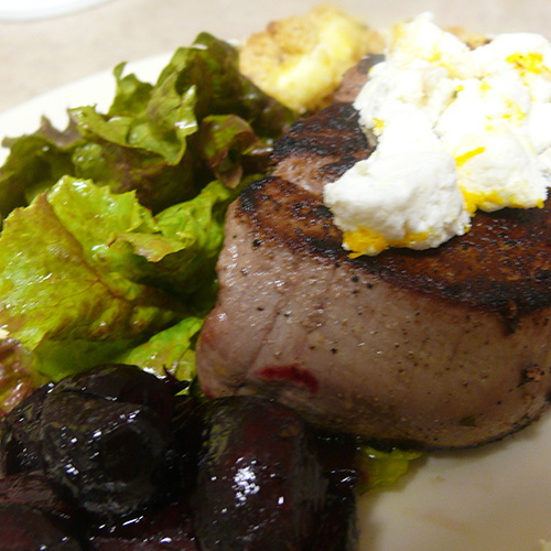 Grilled Filet with Pine Nut Crusted Goat Cheese and Caramelized Beets