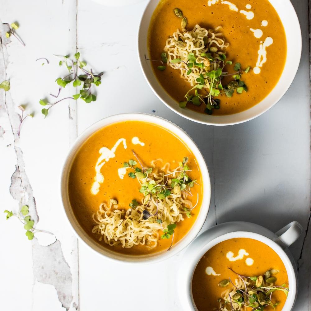 Ramen Noodle Butternut Squash Tomato Soup