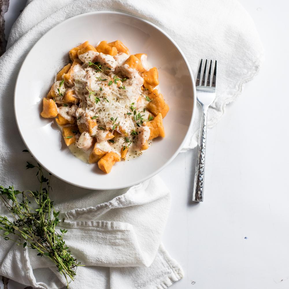 Homemade Sweet Potato Gnocchi in Brown Butter Cream Sauce