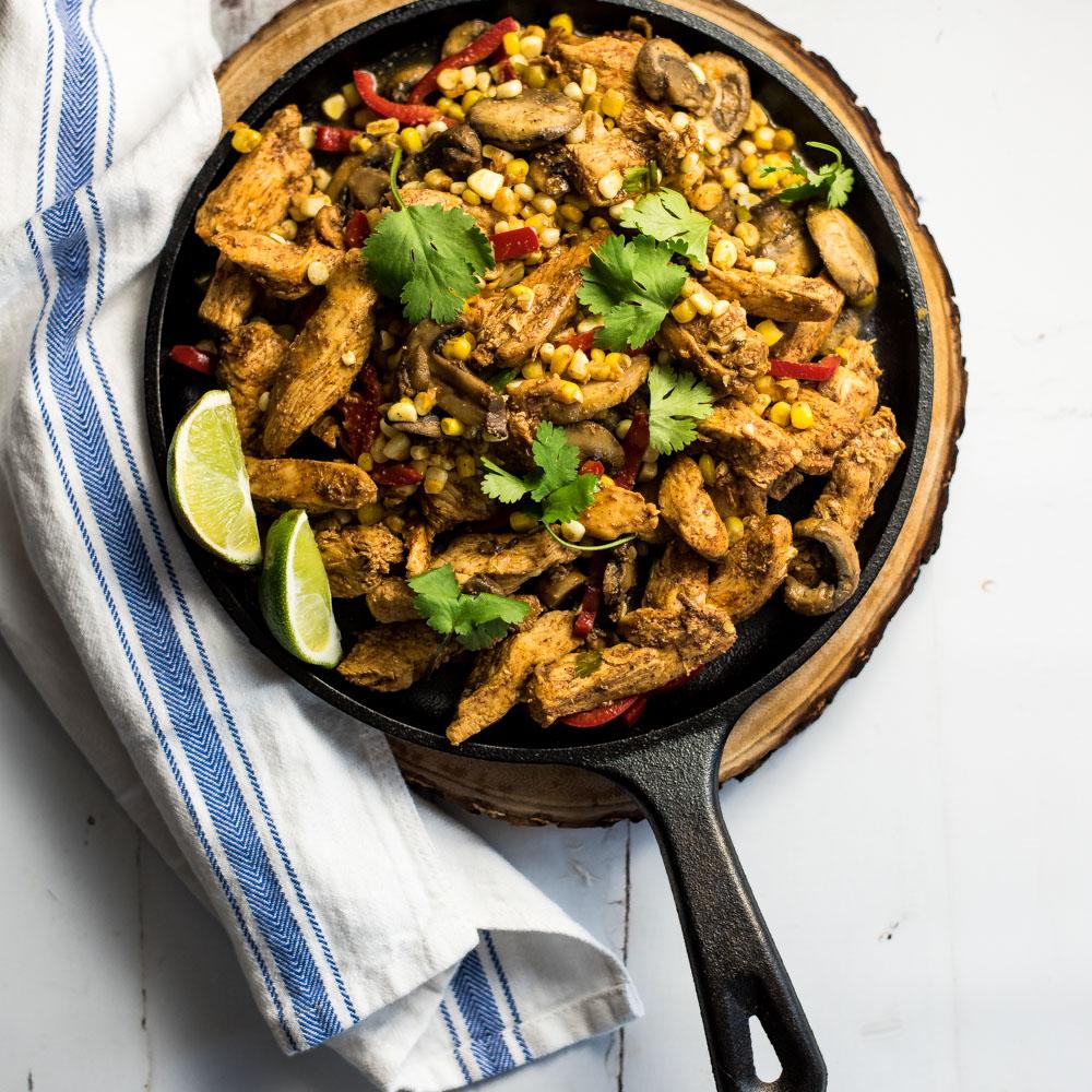 Spicy Corn and Chicken Fajitas