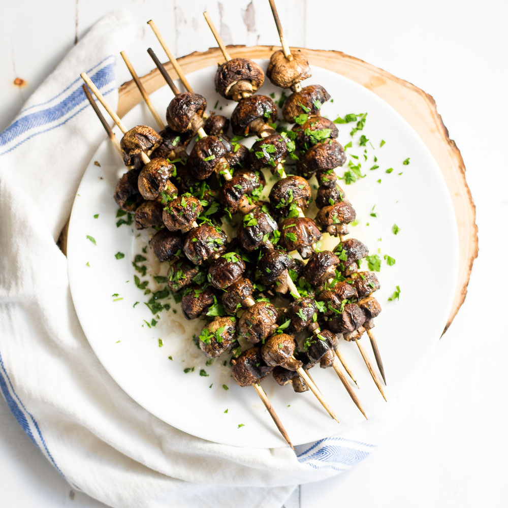 Grilled Mushrooms with Herbed Brown Butter Sauce