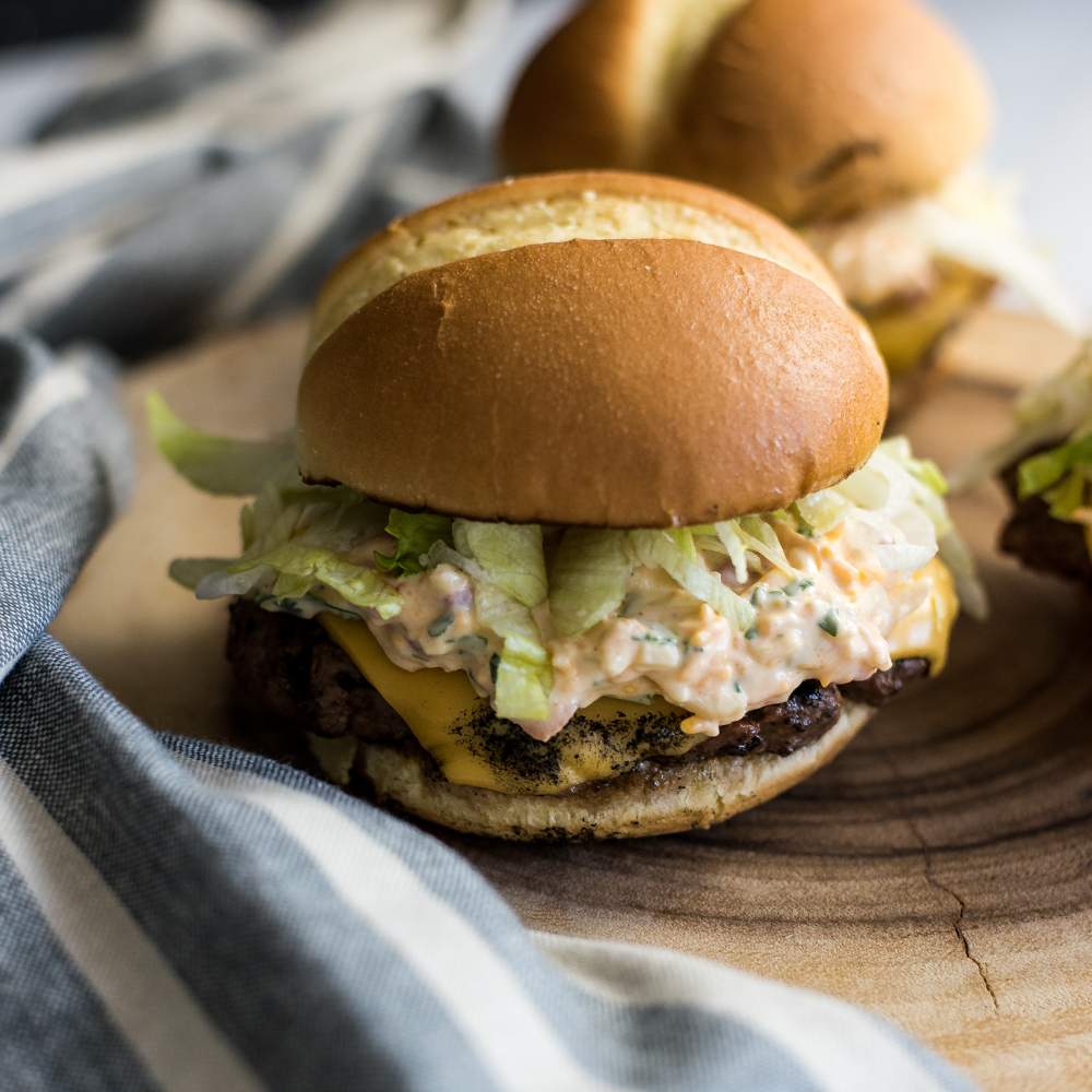 Thin and Stacked Pimento Cheeseburgers